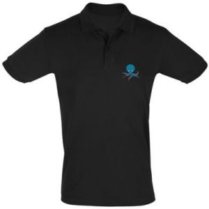 Men's Polo shirt Cute blue octopus with a smile - PrintSalon
