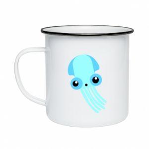 Kubek emaliowany Cute blue jellyfish