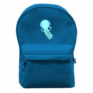 Backpack with front pocket Cute blue jellyfish - PrintSalon