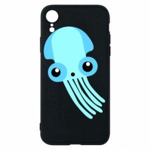 Etui na iPhone XR Cute blue jellyfish