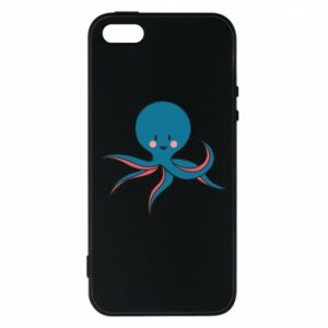 Phone case for iPhone 5/5S/SE Cute blue octopus with a smile - PrintSalon