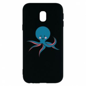 Phone case for Samsung J3 2017 Cute blue octopus with a smile - PrintSalon