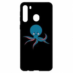 Etui na Samsung A21 Cute blue octopus with a smile