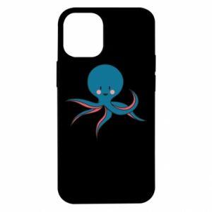 Etui na iPhone 12 Mini Cute blue octopus with a smile