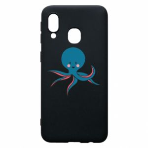 Phone case for Samsung A40 Cute blue octopus with a smile - PrintSalon