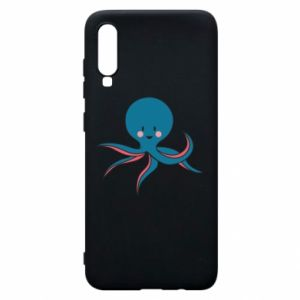 Phone case for Samsung A70 Cute blue octopus with a smile - PrintSalon