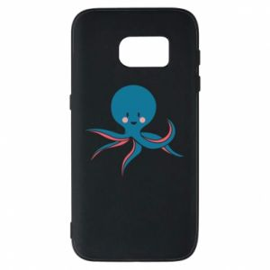 Phone case for Samsung S7 Cute blue octopus with a smile - PrintSalon