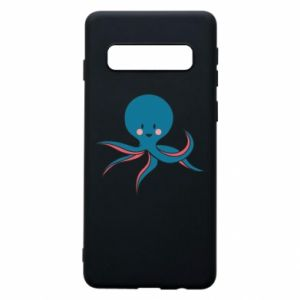 Phone case for Samsung S10 Cute blue octopus with a smile - PrintSalon