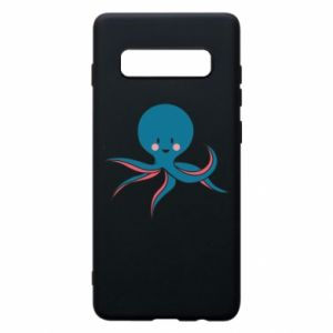 Phone case for Samsung S10+ Cute blue octopus with a smile - PrintSalon