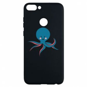 Phone case for Huawei P Smart Cute blue octopus with a smile - PrintSalon