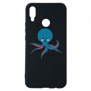 Phone case for Huawei P Smart Plus Cute blue octopus with a smile - PrintSalon