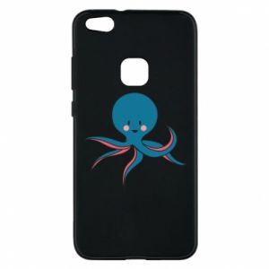 Phone case for Huawei P10 Lite Cute blue octopus with a smile - PrintSalon
