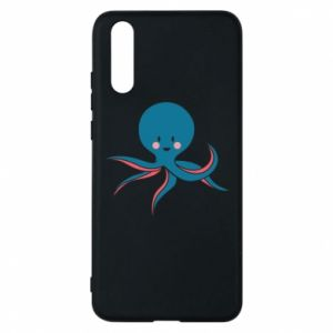 Phone case for Huawei P20 Cute blue octopus with a smile - PrintSalon