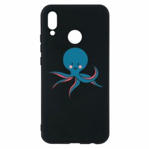 Phone case for Huawei P20 Lite Cute blue octopus with a smile - PrintSalon