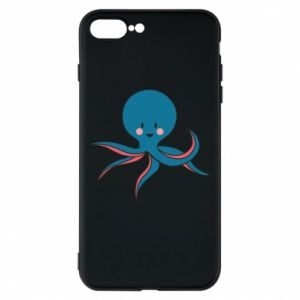 Phone case for iPhone 7 Plus Cute blue octopus with a smile - PrintSalon