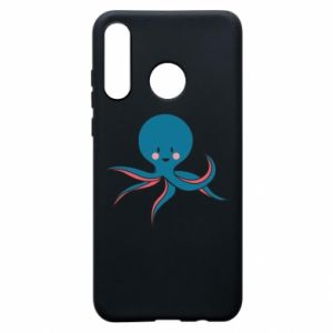 Phone case for Huawei P30 Lite Cute blue octopus with a smile - PrintSalon