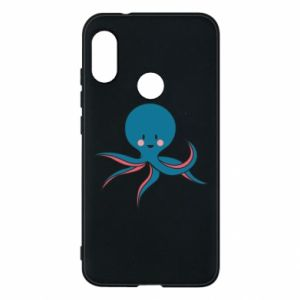 Phone case for Mi A2 Lite Cute blue octopus with a smile - PrintSalon