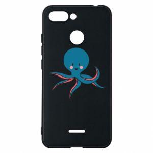 Phone case for Xiaomi Redmi 6 Cute blue octopus with a smile - PrintSalon