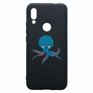 Phone case for Xiaomi Redmi 7 Cute blue octopus with a smile - PrintSalon