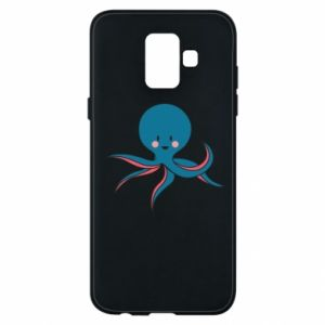 Phone case for Samsung A6 2018 Cute blue octopus with a smile - PrintSalon