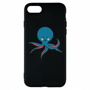 Phone case for iPhone 8 Cute blue octopus with a smile - PrintSalon