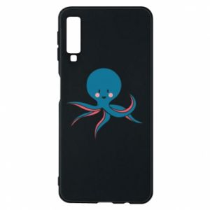 Phone case for Samsung A7 2018 Cute blue octopus with a smile - PrintSalon