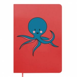 Notepad Cute blue octopus with a smile - PrintSalon