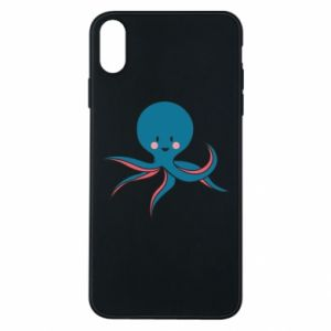 Phone case for iPhone Xs Max Cute blue octopus with a smile - PrintSalon