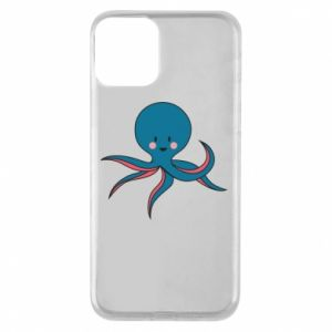 Phone case for iPhone 11 Cute blue octopus with a smile - PrintSalon
