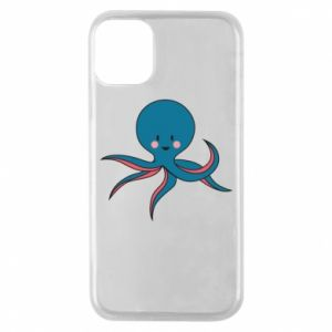 Phone case for iPhone 11 Pro Cute blue octopus with a smile - PrintSalon