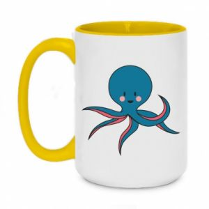 Kubek dwukolorowy 450ml Cute blue octopus with a smile