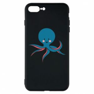 Phone case for iPhone 8 Plus Cute blue octopus with a smile - PrintSalon
