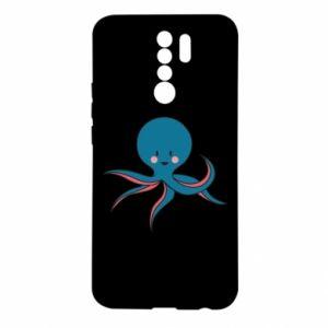 Etui na Xiaomi Redmi 9 Cute blue octopus with a smile