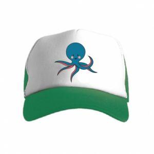 Czapka trucker dziecięca Cute blue octopus with a smile