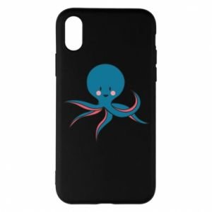 Phone case for iPhone X/Xs Cute blue octopus with a smile - PrintSalon