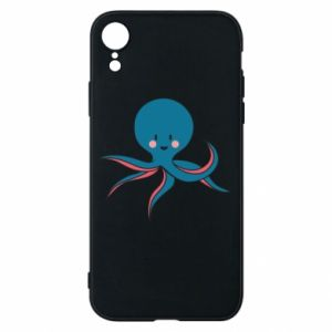 Phone case for iPhone XR Cute blue octopus with a smile - PrintSalon