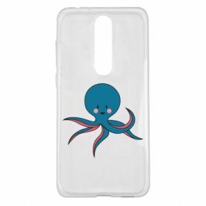 Etui na Nokia 5.1 Plus Cute blue octopus with a smile