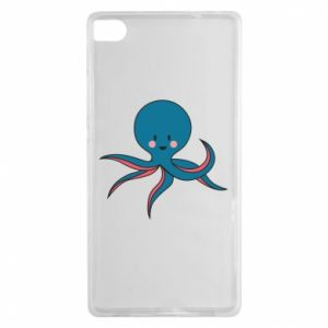 Etui na Huawei P8 Cute blue octopus with a smile