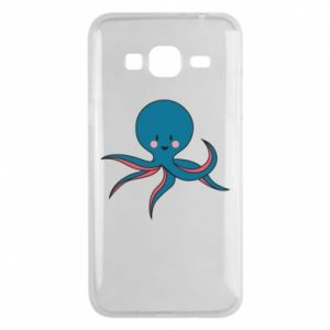 Phone case for Samsung J3 2016 Cute blue octopus with a smile - PrintSalon