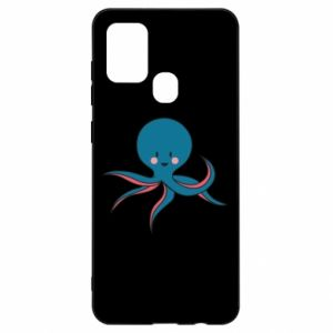 Etui na Samsung A21s Cute blue octopus with a smile