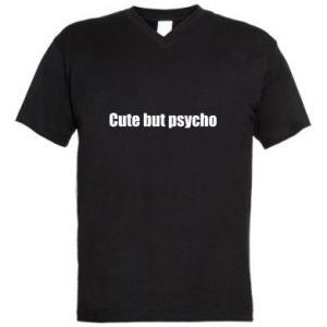 Męska koszulka V-neck Napis: cute but psycho
