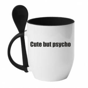Kubek z ceramiczną łyżeczką Napis: cute but psycho