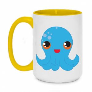 Two-toned mug 450ml Cute jellyfish