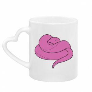Kubek z uchwytem w kształcie serca Cute pink snake