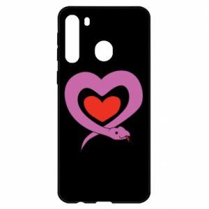 Etui na Samsung A21 Cute snake heart