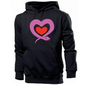 Men's hoodie Cute snake heart - PrintSalon