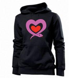 Women's hoodies Cute snake heart - PrintSalon