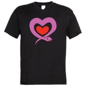 Men's V-neck t-shirt Cute snake heart - PrintSalon