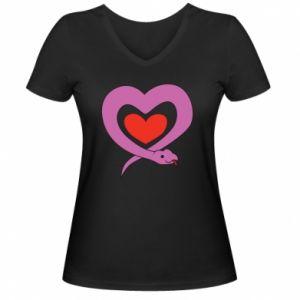 Women's V-neck t-shirt Cute snake heart - PrintSalon