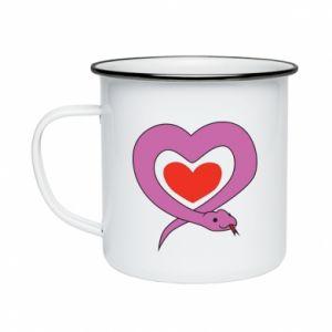 Enameled mug Cute snake heart - PrintSalon